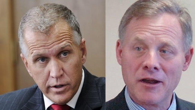U.S. Sens. Thom Tillis, left, and Richard Burr