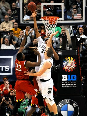 Michigan State freshman forward Deyonta Davis (23) blocks a shot by Maryland freshman center Diamond Stone (33) with under a minute left in MSU's 64-61 Big Ten Tournament semifinal win over Maryland, Saturday, March, 12, 2016 at Bankers Life Fieldhouse in Indianapolis.