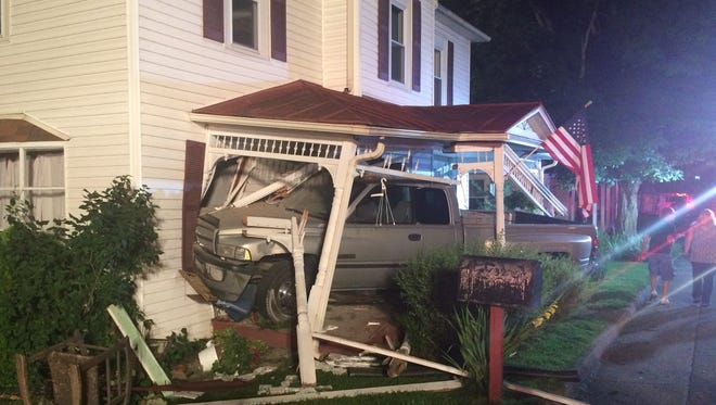 A pickup slammed into a home Monday morning at 3911 Churchville Avenue.