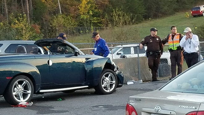 A vehicle struck several pedestrians as it tried to exit Martinsville Speedway on Sunday.