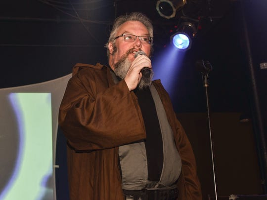 "Pensacon Chairman Mike Ensley addresses the crowd at last year's ""Wookie Nights"" at Vinyl Music Hall. The event returns Saturday."