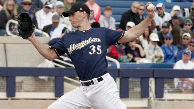 Brent Suter went 3-2 with a 3.42 earned run average in 22 games last season, including 14 starts.