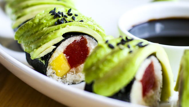 Cider Press Café features gourmet raw vegan cuisine, including the Florida Roll, one of its most popular dishes. Tamari-infused watermelon, mango, riced jicama and avocado are presented with ginger, wasabi and tamari sauce.