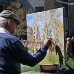 Artist in residence Peter Williams works on an oil painting in the paddock between races at Keeneland Race Course in Lexington, Ky., on Saturday, April 10, 2010.
