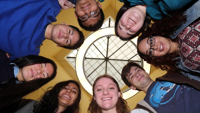 Eight seniors at Ossining High School have been named semifinalists in the Intel Science Talent Search.  Clockwise from bottom, Julia Riley, Claire Sukumar, Soon il Higashino, Jason Aguirre, Yasir Khan, Zoe Scheier, Kimberly Badger and Ben Feinstein.