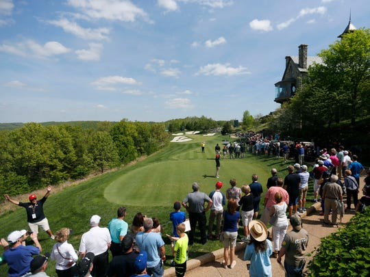 Jack Nicklaus tees off on the third hole during the