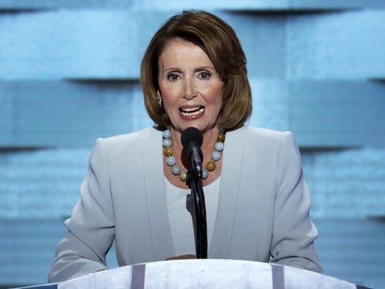 House Minority Leader Nancy Pelosi, D-Calif., speaks on Thursday, the final day of the Democratic National Convention.
