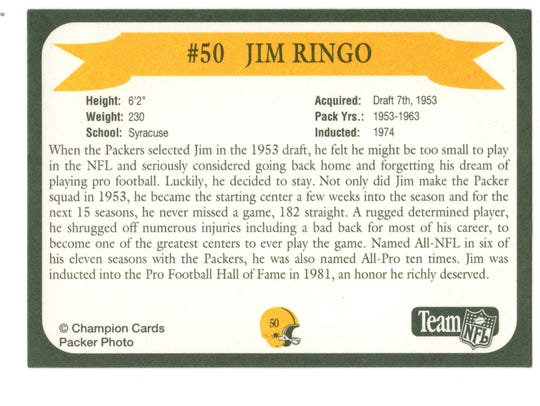 Packers Hall of Fame player Jim Ringo