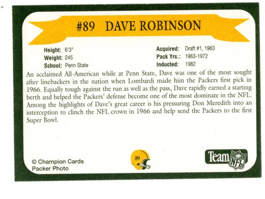 Packers Hall of Fame player Dave Robinson