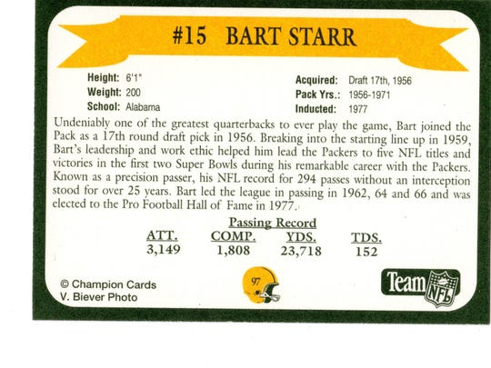 Packers Hall of Fame player Bart Starr