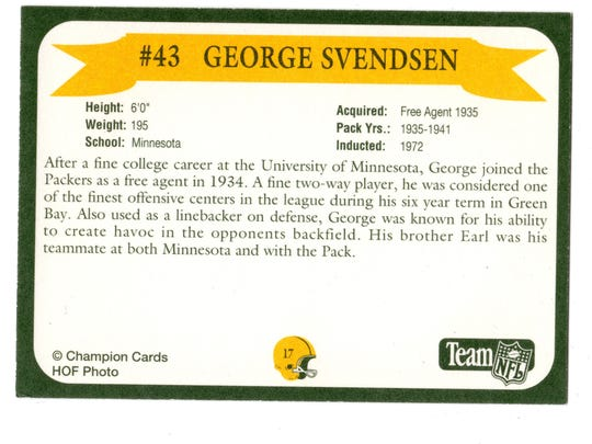 Packers Hall of Fame player George Svendsen