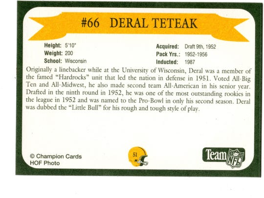 Packers Hall of Fame player Deral Teteak