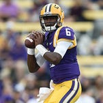BATON ROUGE, LA - SEPTEMBER 27:  Brandon Harris #6 of the LSU Tigers participates in warmups prior to a game against the New Mexico State Aggies at Tiger Stadium on September 27, 2014 in Baton Rouge, Louisiana.  LSU won the game 63-7.  (Photo by Stacy Revere/Getty Images)