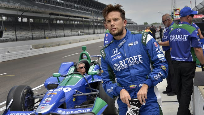 Andretti Autosport IndyCar driver Carlos Munoz (29) during practice for the Indianapolis 500 at the Indianapolis Motor Speedway on Tuesday, May 15, 2018.