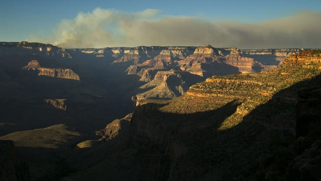 The Fuller Fire burns on the north rim of the Grand Canyon as seen from the Bright Angel Trail below the south rim of the canyon in Grand Canyon National Park in this USA Today file photo. A series of new fires have emerged on the north rim in recent days, according to park officials.