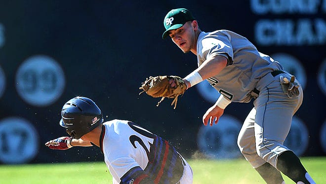 Governor Livingston's Ryan Davey (20) is safe at second base ahead of the tag from South Plainfield's Mike Stanczak in a Central Group II quarterfinal on Thursday, May 24, 2018 in Berkeley Heights.
