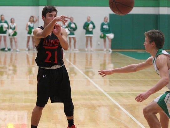 Ballinger High School's Edgar Nunez (21) passes the