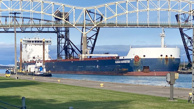 The Algoma Harvester in the Soo Locks as pictured on Thursday, Sept. 10, 2020.