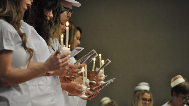 The NMSU Carlsbad nurse pinning ceremony included reciting the Nightingale Pledge.