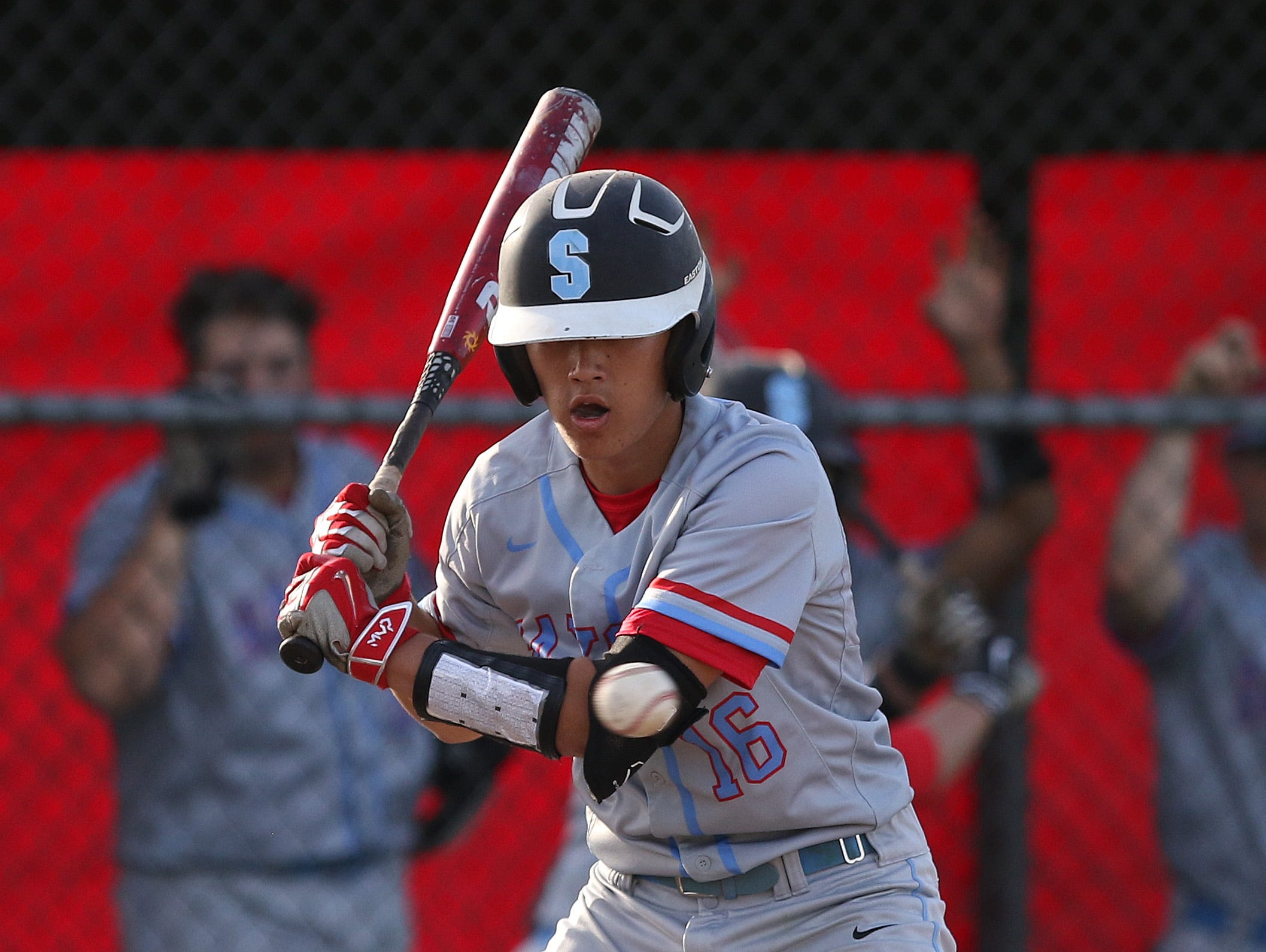 South Salem's Tori Doten bats as the Saxons defeat North Salem 8-1 on Friday, April 8, 2016, during a Greater Valley Conference game.