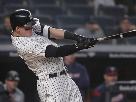 New York Yankees' Tyler Austin connects for a three-run