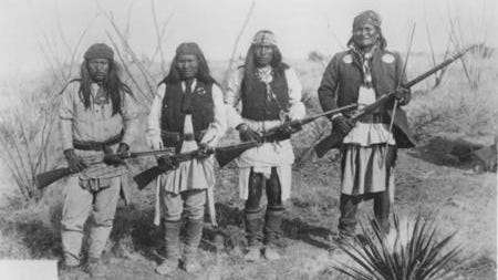 This photo taken by C.S. Fly after Geronimo's surrender to General Crook in March 1886. Left to right: Yanozha (Geronimo's brother-in-law), Chappo (Geronimo's son), Fun (Geronimo's 2nd cousin) and Geronimo, the Chiricahua Apache Tribe's legendary medicine man.