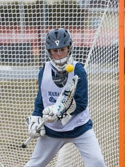 Manasquan Girls Lacrosse goalie Helena Morrison at Manasquan Girls pre-season practice in Sea Girt on March 27, 2018.