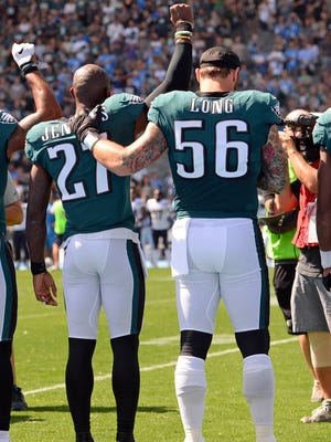 Eagles S Malcolm Jenkins (27) and DE Chris Long have been outspoken NFL voices for societal change.