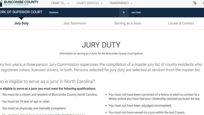 Among other requirements, Buncombe County does require that jurors be U.S. citizens.