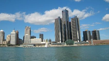 The skyline of the city of Detroit as seen from the Detroit River in 2013.