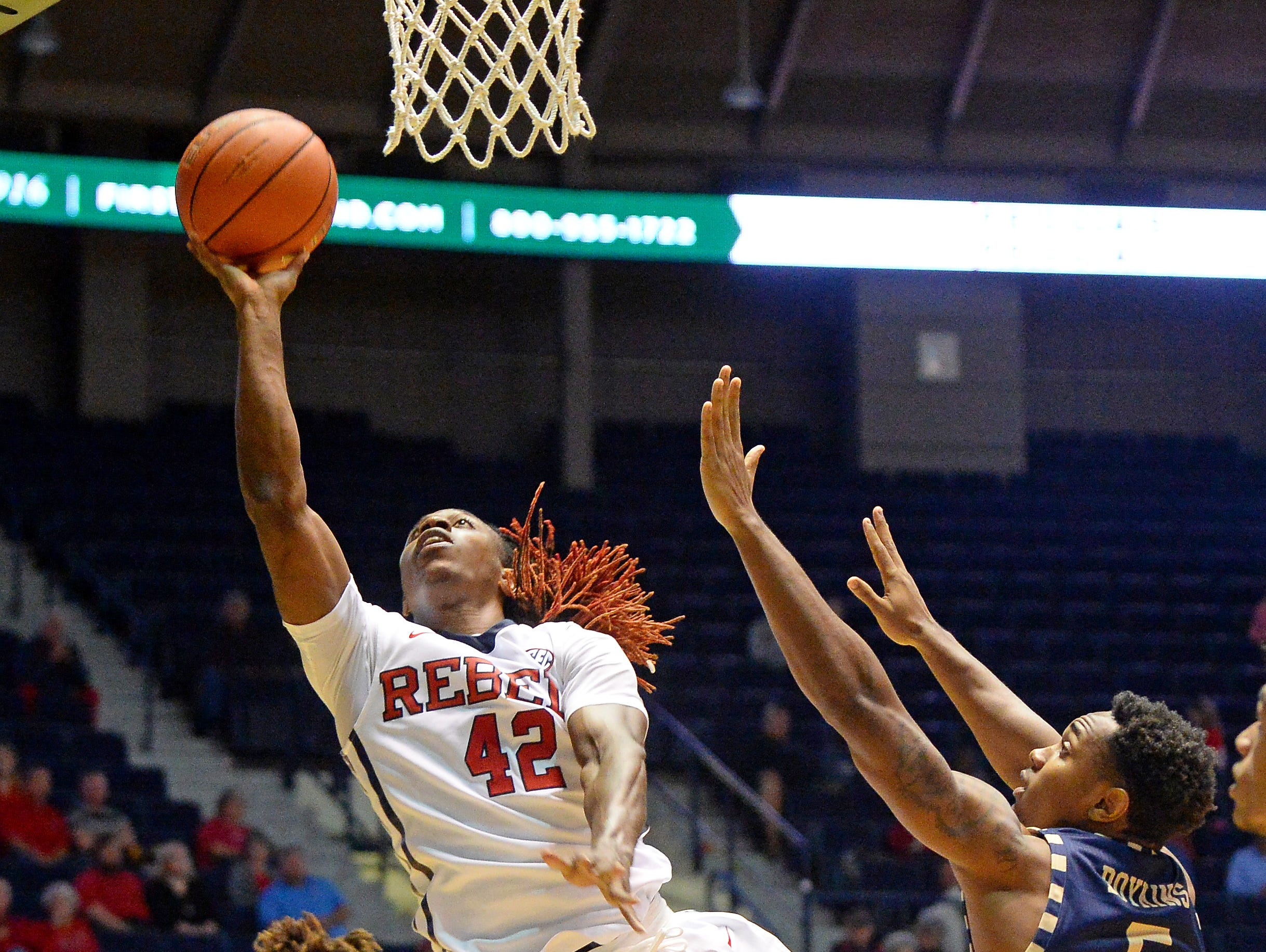 Ole Miss guard Stefan Moody takes a shot past a Georgia Southern defender on Monday at Tad Smith Coliseum in Oxford. Ole Miss won 82-72.