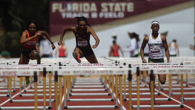 FSU's Cortney Jones races to a win in the 100-meter hurdles at the FSU Relays, posting a No. 1 national time.