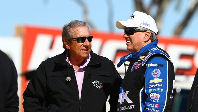 Feb 3, 2016: NHRA team owner Don Schumacher (left) talks with funny car driver John Force during pre season testing at Wild Horse Pass Motorsports Park.