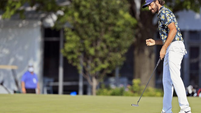 Curtis Luck makes a clutch par putt on the 18th hole during the final round of the Nationwide Children's Hospital Championship on Sunday. He won by a stroke.