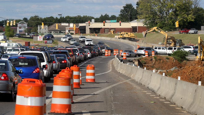 Traffic flows at the Broad and Memorial intersection on Wednesday, August 26, 2015 the site of the bridge over Broad construcion project, which began in January of 2014.