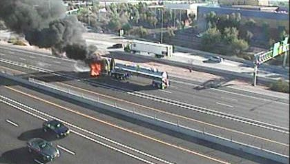 A tanker truck possibly carrying herbicide caught fire on I-10 near US 60.