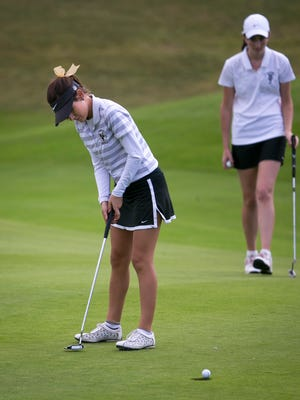 Buckeye Verrado High School's Kaylee Benton, here at last season's Division II golf championship, realized her mistake in playing the No. 16 hole before No. 14 and was assessed a 2-stroke penalty.