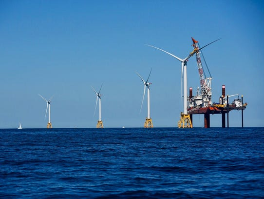 Offshore wind turbines placed by Deepwater Wind off