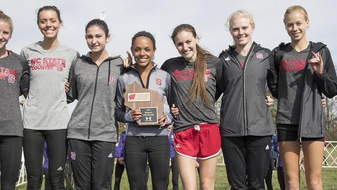 Roberson alum Rachel Koon, far right, is a redshirt sophomore for the N.C. State cross country team.