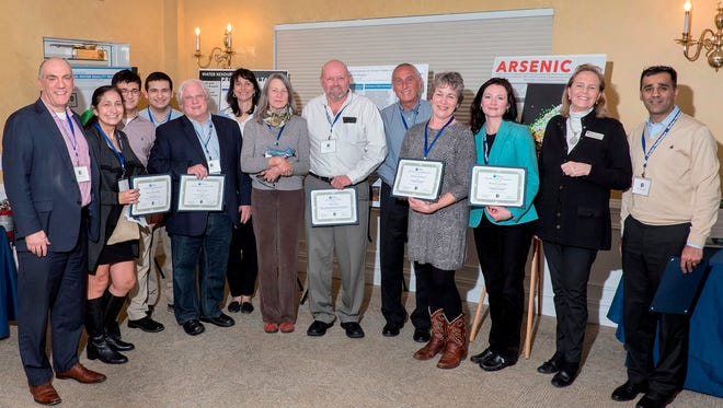 From left: Lawrence, Mimi, Thomas and Matthew Jacobs of Bedminster; Brian Lynch of Mine Hill; Trish McGuire, volunteer coordinator for Raritan Headwaters; Suki Dewey of Oldwick, a longtime RHA board member; Ray Croot of Hillsborough; Robert Falcone of Long Valley; Roberta Brassard and Shana Goodchild, who work for Tewksbury Township; Cindy Ehrenclou, executive director of Raritan Headwaters; and Arun GundRao of Morgan Stanley.