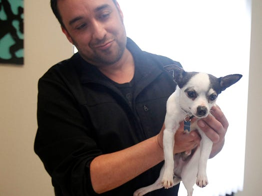 Juan Lopez, practice manager of Evergreen Veterinary Hospital, holds Skippy, a 1 1/2 year old chihuahua, who after having to have his leg amputated, will be up for adoption through Savin' Juice Medical Rescue.