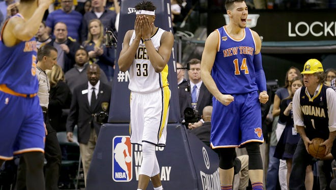 Indiana Pacers center Myles Turner (33) reacts after he dribble the ball off of his foot and went out of bounds in the final minute of the second half of their game Monday, January 23, 2017, evening at Bankers Life Fieldhouse. The Pacers lost to the Knicks 109-103.