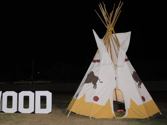 """A teepee built by Tulare Union students during a football game against Delano last season. Assembly Bill 30 would ban the use of the nickname """"Redskins."""""""