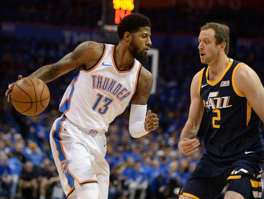 USP NBA: PLAYOFFS-UTAH JAZZ AT OKLAHOMA CITY THUND S BKN OKC UTA USA OK