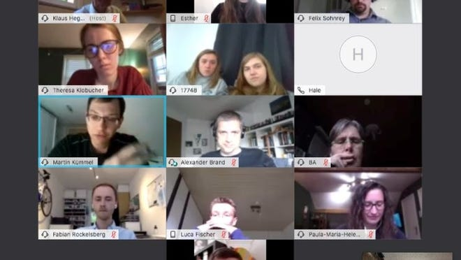 A screenshot of a webex in July 2020 with students and faculty from Fitchburg State University and Rhine-Waal University in Germany.