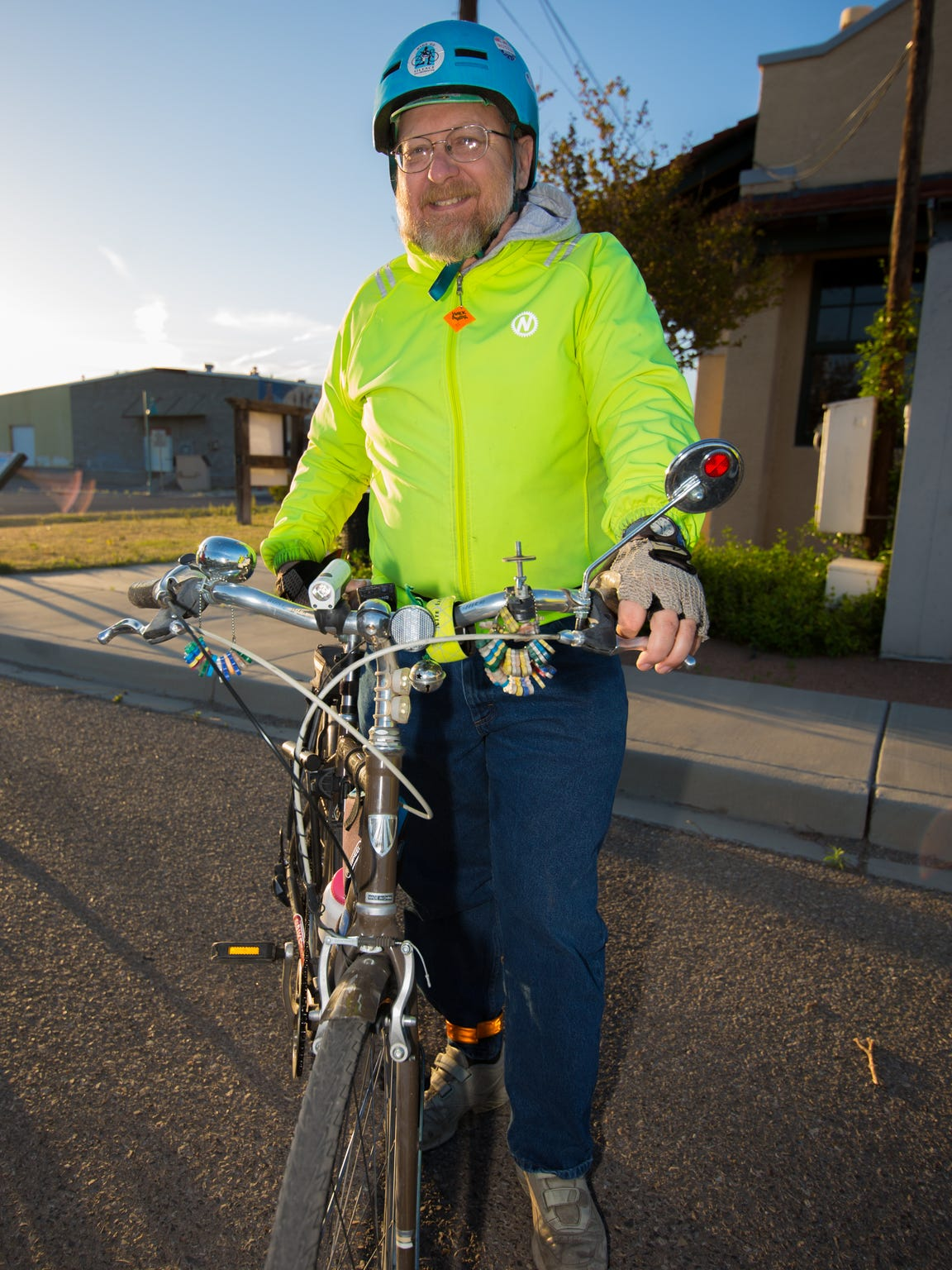 George Pearson, certified instructor of the League of American Bicyclists before the start of the Share the Road Visibility.