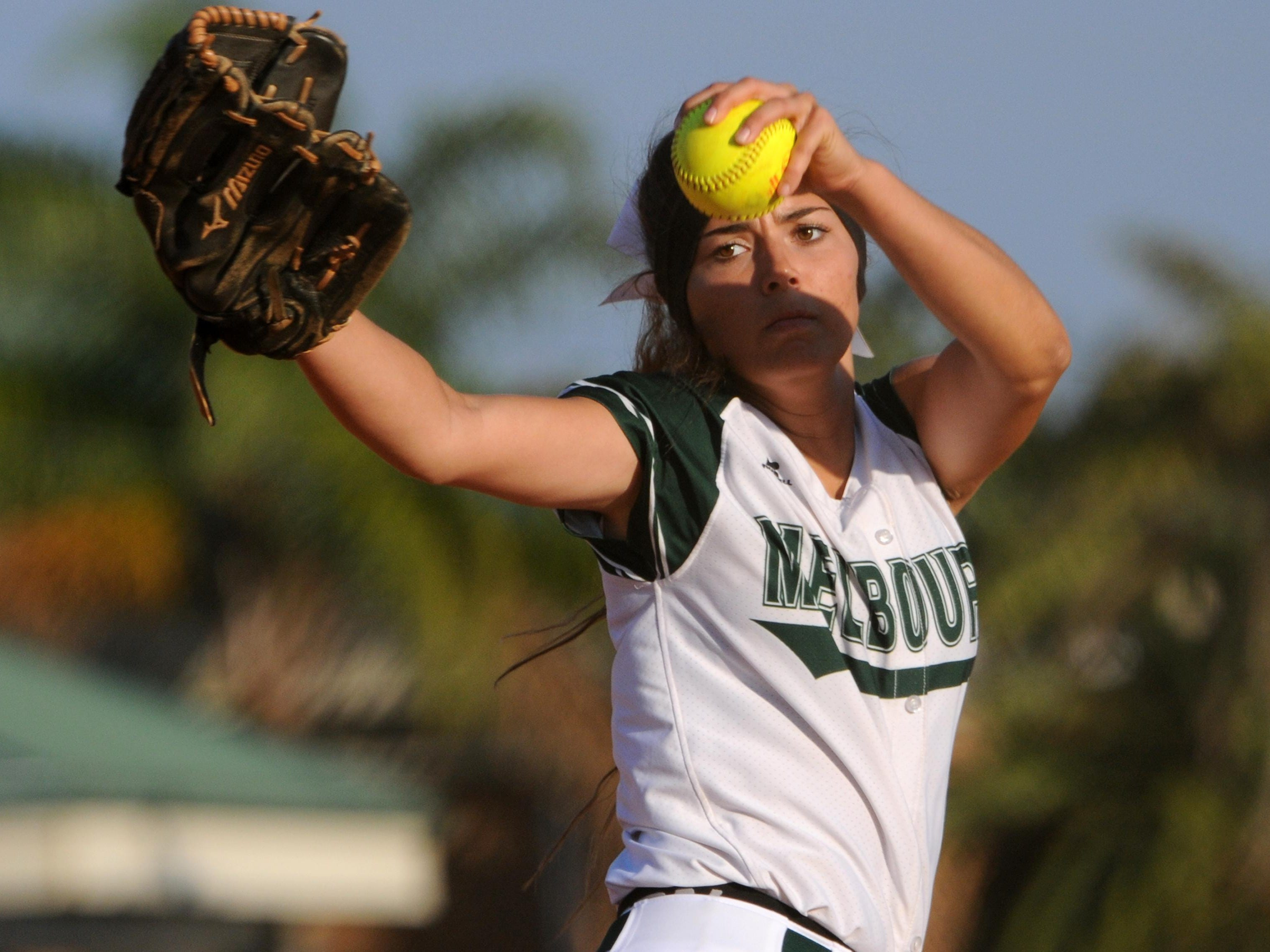 Melbourne's Melanie Murphy pitches during 2015 game against Rockledge.