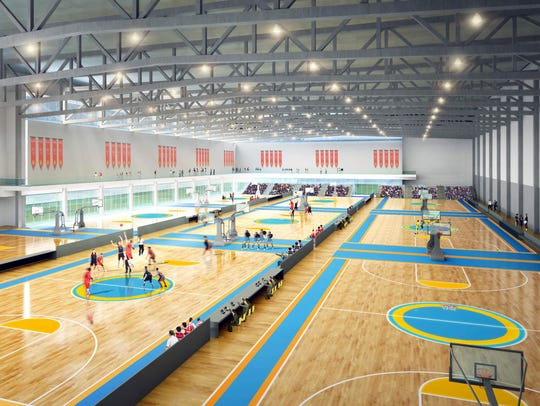 A mock-up of a $60 million sports complex proposed