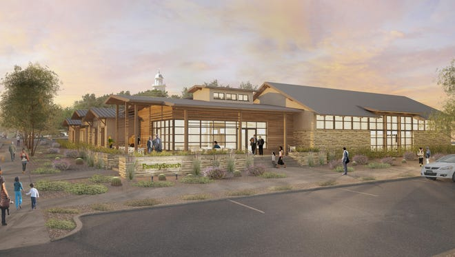 An architect's rendering shows the anticipated design of the new St. George Family History Library, looking northeast toward the St. George Temple.