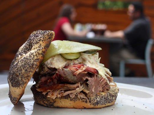 Pulled pork sandwich at Slows bBar BQ  in Detroit.
